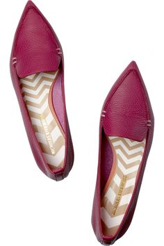 Nicholas Kirkwood|Textured-leather point-toe flats|NET-A-PORTER.COM