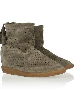 Isabel Marant | Basley perforated suede wedge ankle boots | NET-A-PORTER.COM