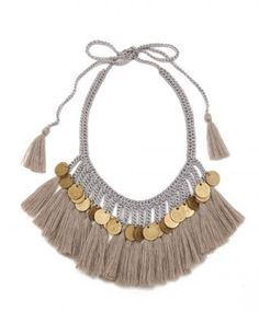Exotic tribal style comes naturally with this Grey Plumas Necklace from Mexico City label Daniela Bustos Maya. A bold boho essential for the...