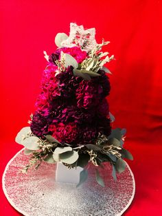 Floral Christmas Tree adds some lush, drama + seasonal messaging. Floral Sentiment: Carnations (Always Remembered), Eucalytpus (Protection), Oregonia (Joy)