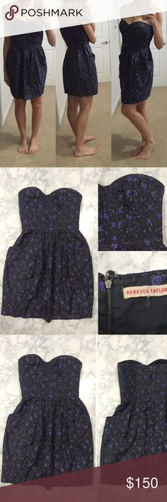 [Rebecca Taylor] women's strapless floral dress 6 [Rebecca Taylor] women's strapless floral dress 6 •🆕listing •excellent pre-owned condition •dark grey with purple floral design pattern •strapless corset style top, 2 lower front side pockets •black zipper closure •size tag 6, likely fit S-M frame •elastic cinch design on top sides to provide a comfortable stable fit •material 100% silk •offers welcomed using the offer feature or bundle for the best discount• Rebecca Taylor Dresses Strapless