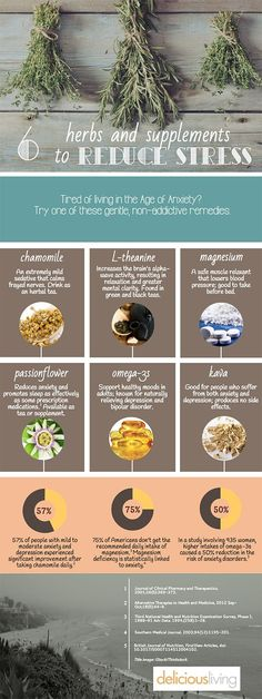 [Infographic] Best herbs and supplements for stress relief | Health content from Delicious Living