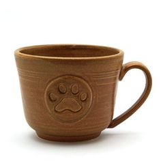 Paw Print Coffee Mug, Brown Ceramic Pottery Tea Cup, Pawprint Pet Lovers Handmade Pottery Gift by MiriHardyPottery