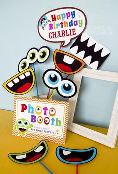 Photo booth at a Monster Party #monster #partyphotos