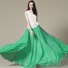 Hi, everyone! Come on and have a look at our fashion 2013 new Light green chiffon maxi skirt. It is a very fashion and cheap skirt which is suitable to anyone who loves fashion. This skirt is well-designed with special style and solid color. Wearing this skirt will sure add your quality and beauty, if you are a girl of your own quality, you can't miss it!