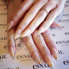 nude gold pointy nails My Style ❤ liked on Polyvore featuring beauty products, nail care, nail treatments, nails and beauty