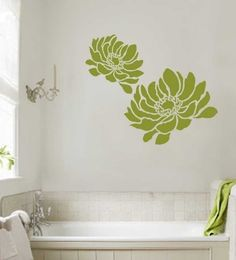 Flower stencil Anemone Grande LG  Reusable by CuttingEdgeStencils, $39.95 - Master bathroom