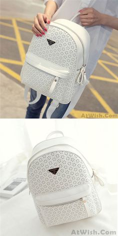 Casual good Solid Hollow Flower School Bag Travel Backpack for big sale! #hollow #flower #school #college #Backpack #Bag #fashion #travel #student