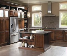 Dramatic styling and down-to-earth pricing describes this versatile door style. Louden is available in a wide range of wood species and has a drawer front option. New Kitchen, Kitchen Dining, Kitchen Ideas, Kitchen Cabinet Design, Kitchen Cabinets, Cabinet Colors, Traditional Kitchen, Black Forest, Grey Walls