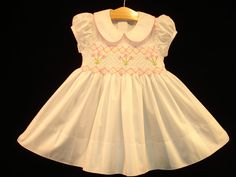 New boutique design hand embroidered smocked Dress - Size  6m 12m 18m 24m  2  White
