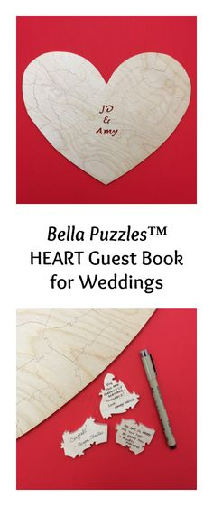 Bella Puzzles HEART Guest Book for Weddings - personalize it with your names, or wedding date, or initials.