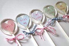 Message Valentine Lollipops 1/2 dozen by sweetniks on Etsy, $10.00