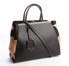 FENDI Beige And Black Leather '2Jours' Convertible Tote