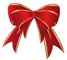 Christmas Red Gold Bow PNG Clipart