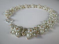 Beadwork / White Blossom Pearls Beaded Necklace / Beadweaving