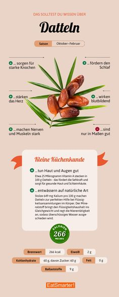 Das solltest du über Datteln wissen   eatsmarter.de #dattel #infografik #vegan