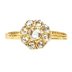 Rose Cut Diamond Victorian Engagement Ring