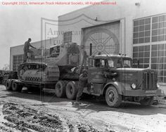 Looks like one of many heavy hauls my Dad pulled off back in the day with slightly undersized equipment.  Autocar and tandem beam step deck.