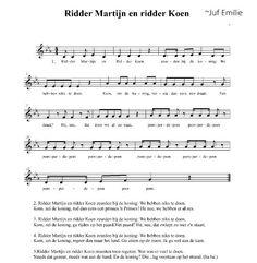 Lied Ridder Martijn en Ridder Koen Partituur, notennamen. ~Juf Emilie