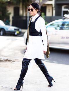 White button up + black vest + leather pants