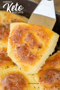 Cheesy Keto biscuits LOADED with cheese! Cream cheese, mozzarella cheese, eggs, baking powder, almond flour and melted butter. Can make individual biscuits or one large loaf. I like to brush the baked biscuits with melted butter and garlic powder. Low Carb Bread, Low Carb Keto, Low Carb Recipes, Diet Recipes, Healthy Recipes, Recipes Dinner, Delicious Recipes, Food Recipes Snacks, Keto Veggie Recipes