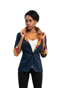 African Print Blazer