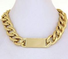 ID Necklace Metal Choker Oversized Tag Statement Collar Gold Celine Kim Inspired Chunky Armor Chain $24.95