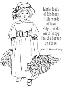 Vintage Girls Coloring Pages - Bing images Quote Coloring Pages, Coloring Pages Inspirational, Coloring Pages For Girls, Free Printable Coloring Pages, Free Coloring Pages, Coloring Sheets, Adult Coloring, Coloring Books, Girls With Flowers