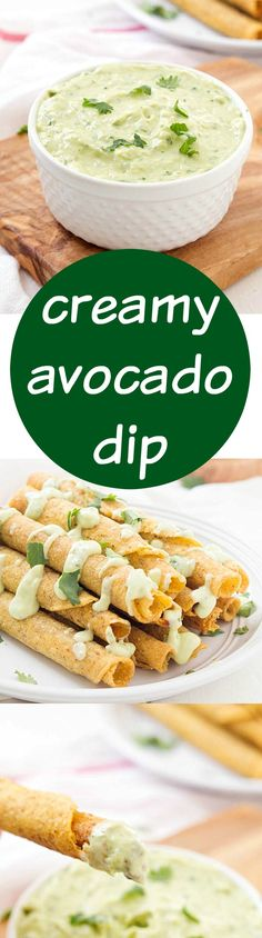Creamy Avocado Dip Recipe - A fun and unique spin on your traditional appetizer dips! Not only is it delicious, but it's a little healthier with greek yogurt! My favorite avocado dipping sauce. Enjoy with your favorite recipes: tacos, tacquitos, taco sala Appetizer Dips, Appetizer Recipes, Avocado Recipes, Healthy Dip Recipes, Salad Recipes, Diet Recipes, Vegetarian Recipes, Mexican Food Recipes, Love Food