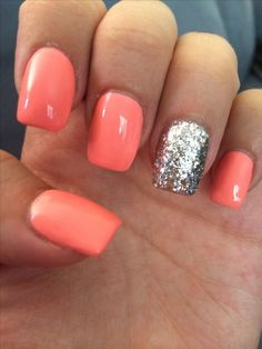 Coral and silver sparkle square tip acrylic nails