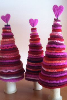 Kit to make Three Wool Felt Trees with Hearts for by FeltedWoolies