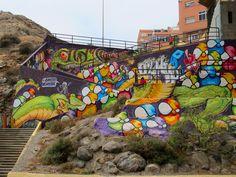 Muro de exhibición del Primer Concurso de Arte Urbano Te Mudas Fest Las Palmas de Gran Canaria