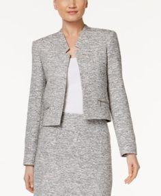 Calvin Klein Zip-Pocket Tweed Blazer