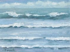 "Surf Clouds Original Oil Painting Modern Impressionist Surreal Abstract Textured Waves Seascape Painting 6x8"" Canvas Jennifer Boswell"