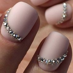 Opting for bright colours or intricate nail art isn't a must anymore. This year, nude nail designs are becoming a trend. Here are some nude nail designs. Fabulous Nails, Gorgeous Nails, Pretty Nails, Swarovski Nails, Rhinestone Nails, Swarovski Crystals, Bride Nails, Wedding Nails, Nagel Bling