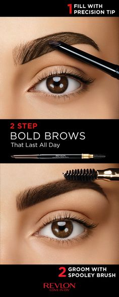 Big bold beautiful brows are in right now! Get the look with the Revlon Colorstay™ Brow Pencil in two easy steps. STEP 1: Use the angled tip to fill in uneven spots with light feathered strokes. STEP 2: Use the spooley brush to brush hair upwards to create the illusion of thickness and then tame for a sculpted brow. Make a statement with bold brows from Revlon.