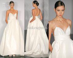 Wholesale Spaghetti strap V-neck Taffeta A-line Gown Wedding Dress Amsale 070814518 D11, Free shipping, $210.23/Piece | DHgate