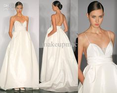 Wholesale Spaghetti strap V-neck Taffeta A-line Gown Wedding Dress Amsale 070814518 D11, Free shipping, $210.23/Piece | DHgate