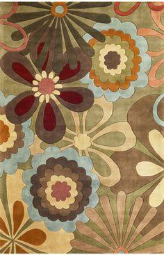 LOVE!  Bombay Rugs Sapphire Contemporary Handmade Wool-Ruby-Retro Flora Sage Rug   Contemporary Rugs