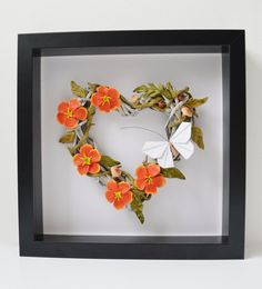 Items similar to Framed wicker heart with polymer clay flowers and origami paper butterfly. Mixed media, handmade, OOAK wall art on Etsy Origami Butterfly, Wicker Hearts, Polymer Clay Flowers, Frame It, Origami Paper, Orange Flowers, Custom Items, Mixed Media, Wall Art