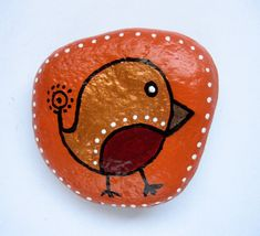 Christmas Robin, hand painted stone