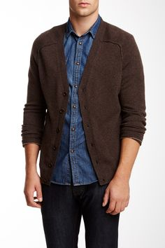 Tipped Cashmere V-Neck Cardigan on HauteLook