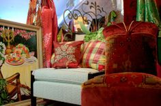 Custom Made Upholstered Vintage Chair With Tassel Fringe,Hand Painted Queen Anne Chair, Custom Lampshades Custom Cushions And Original Art In Red Gold And Leaf Green