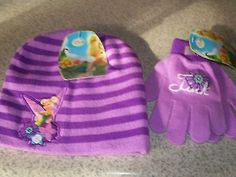 DISNEY TINKERBELL TINK PURPLE HAT & GLOVES SET FOR GIRLS