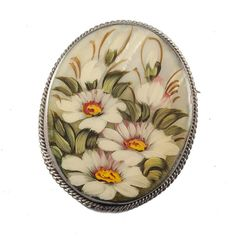 Mother of Pearl Brooch Daisies is a hand-painted brooch on mother-of-pearl base with water-colors and tempera paints. The mother-of-pearl is framed into metal base. Russian Jewelry, Mother Of Pearl Jewelry, Pearl Brooch, Daisies, Brooches, Hand Painted, Pearls, Metal, Gifts