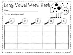 Cute as a bug Write the Room with long vowels-FREE Kindergarten Language Arts, Kindergarten Centers, Classroom Language, Literacy Centers, 2nd Grade Classroom, Classroom Ideas, Long Vowels, Word Sorts, Vowel Sounds