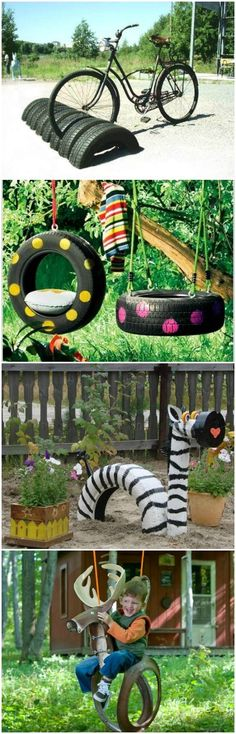 10 DIY Recycled Tires Decoration Ideas for Your Garden via @1001Gardens