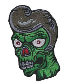 Zombie Greaser Iron On Patch - Punk, Goth, Rockabilly, Psychobilly - Poofhawk