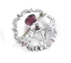 Mizpah Thistle Brooch Amethyst Glass Signed | Etsy