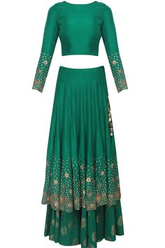 Green zardozi and sequins embroidered lehenga and crop top set available only at Pernia's Pop Up Shop.